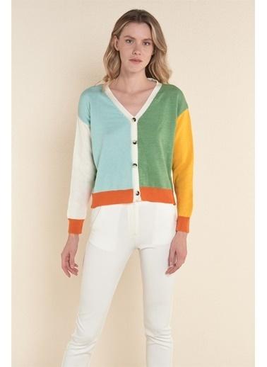 Z Giyim Düğmeli V Yaka Hırka Yeşil